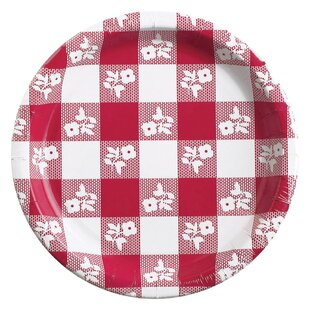 Red Gingham Paper Dessert Plate (Set of 24)