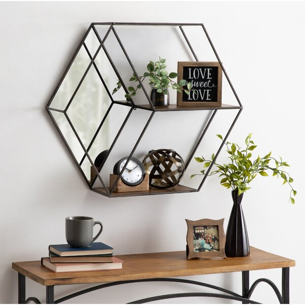 Blesiya Hexagon Wall Mount Shelf Floating Shelf Window Box Pot Black b S