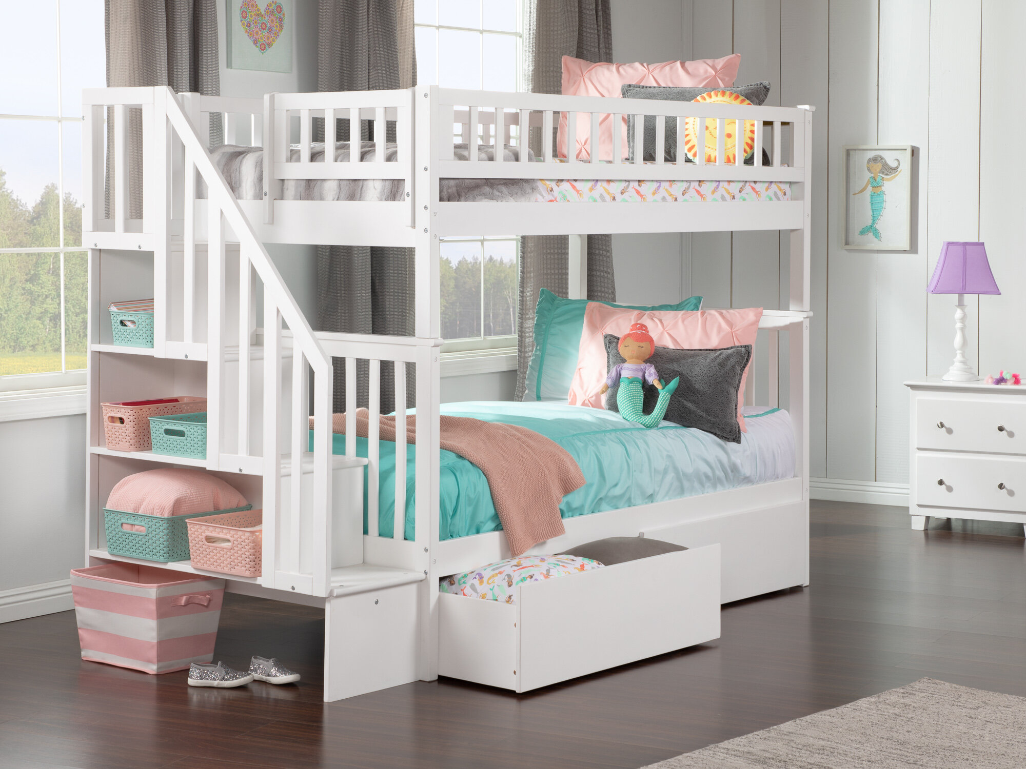 Viv Rae Shyann Staircase Twin Over Twin Bunk Bed With 2 Drawers Reviews Wayfair
