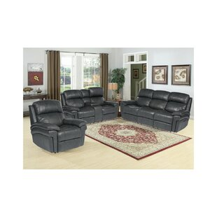 Dipasquale Reclining Luxe Leather 3 Piece Reclining Living Room Set by