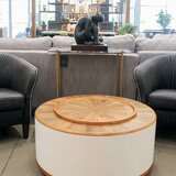 Donnellan Drum Coffee Table with Storage by Foundry Select