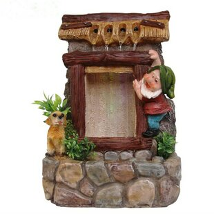 Sintechno Resin Cute Gnome and Dog Sculptural Fountain