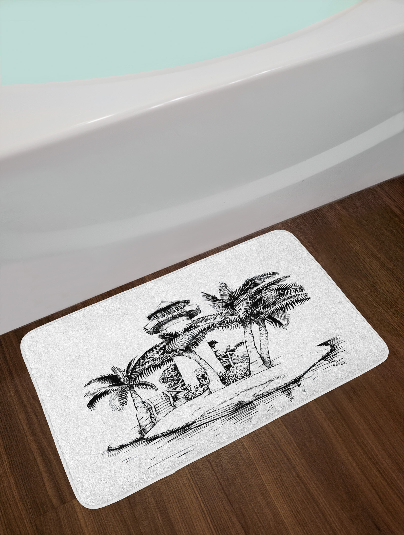East Urban Home Lighthouse Tropical Bath Rug Wayfair