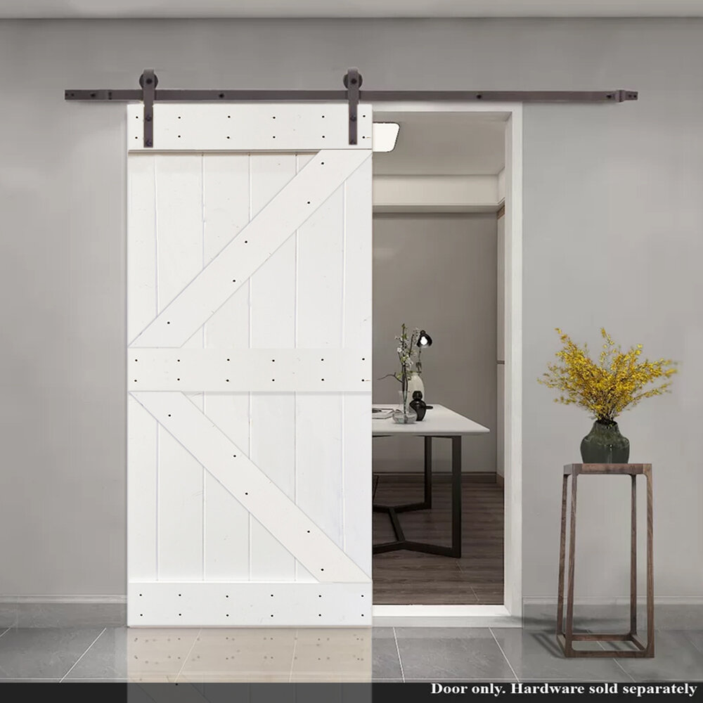 Calhome Paneled Wood Painted Stained K Series Barn Door Without Installation Hardware Kit Reviews Wayfair