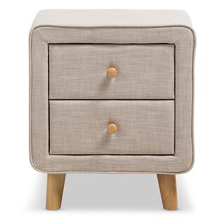 Hyland Upholstered 2 Drawer Nightstand by Ivy Bronx