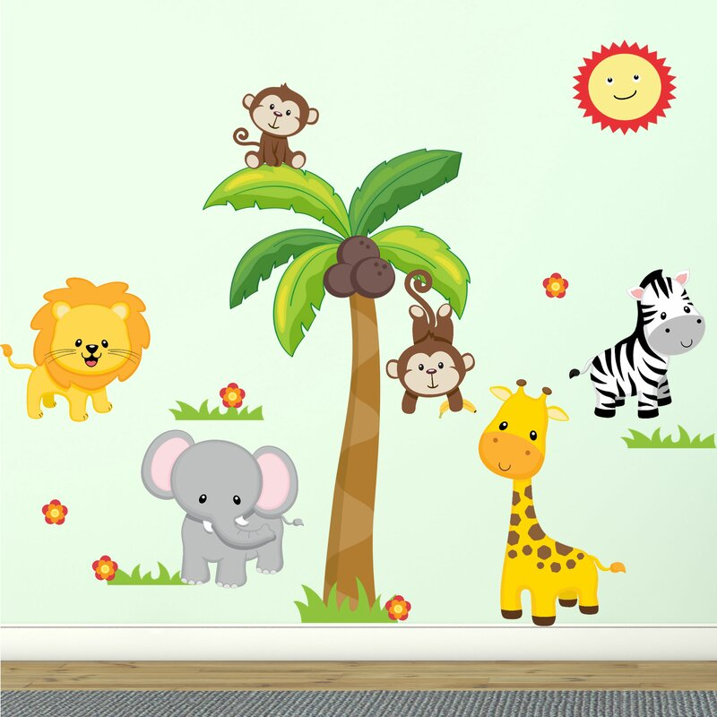 DecaltheWalls Jungle Theme Fabric Wall Decal Reviews Wayfair - Wall decals jungle