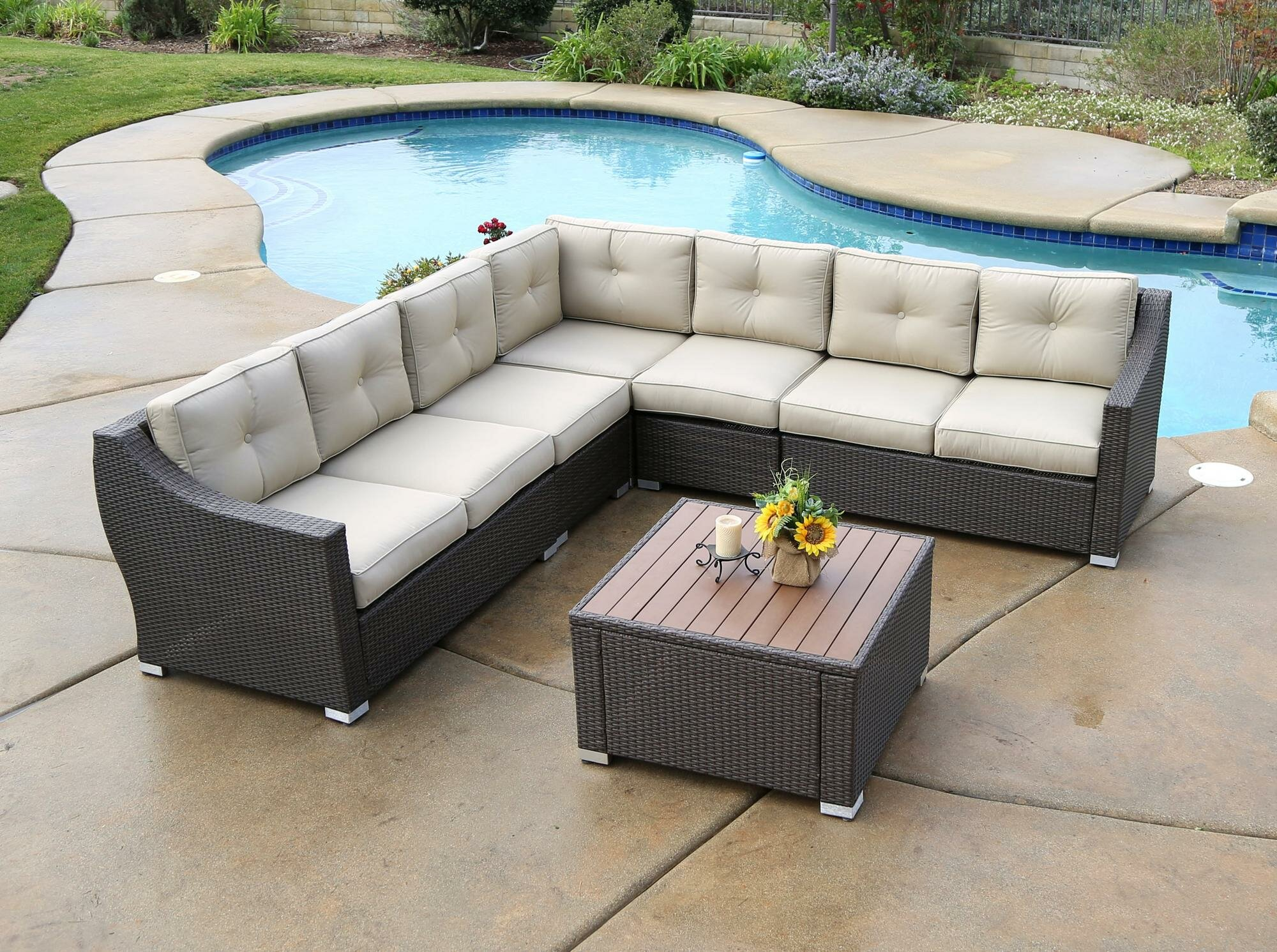Alcott Hill Lanclos 8 Piece Sectional Group With Cushions Wayfair