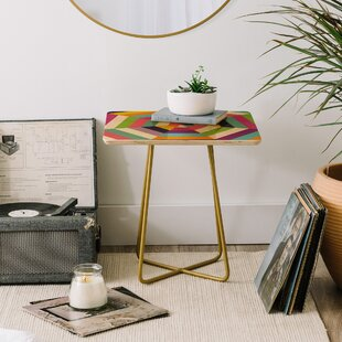 Fimbis Heptagon Quilt End Table by East Urban Home