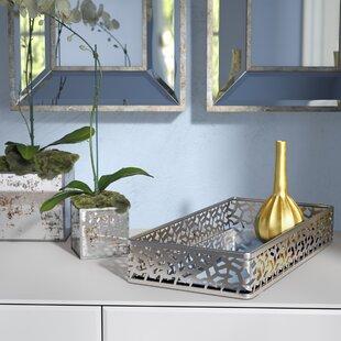 Barse Leaf Design Rectangular Mirror Vanity Tray