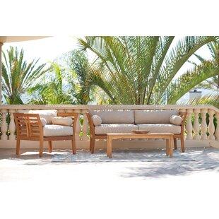 Fleischer 3 Piece Teak Sofa Set with Sunbrella Cushions by Bloomsbury Market