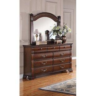 Astoria Grand Quast Vintage 9 Drawer Dresser with Mirror