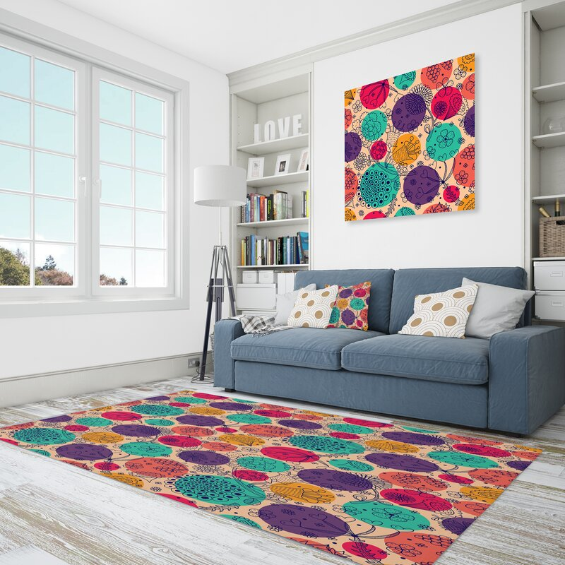 East Urban Home Floral Polyester Pink Purple Yellow Area Rug Wayfair