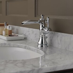 Delta Cassidy Centerset Bathroom Faucet with Channel Spout with Metal Pop-Up Drain
