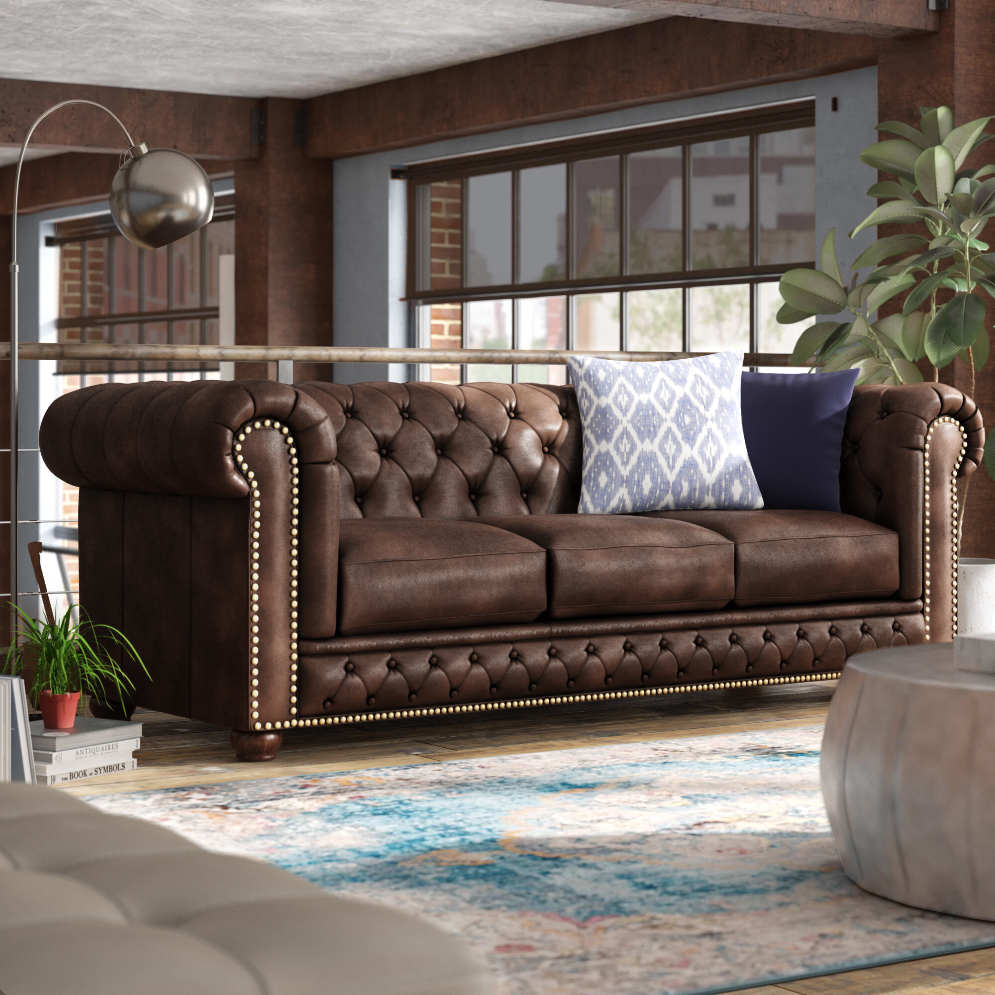 Worcester Leather Chesterfield Sofa