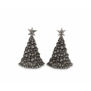 Pewter Christmas Tree Salt and Pepper Shaker Set