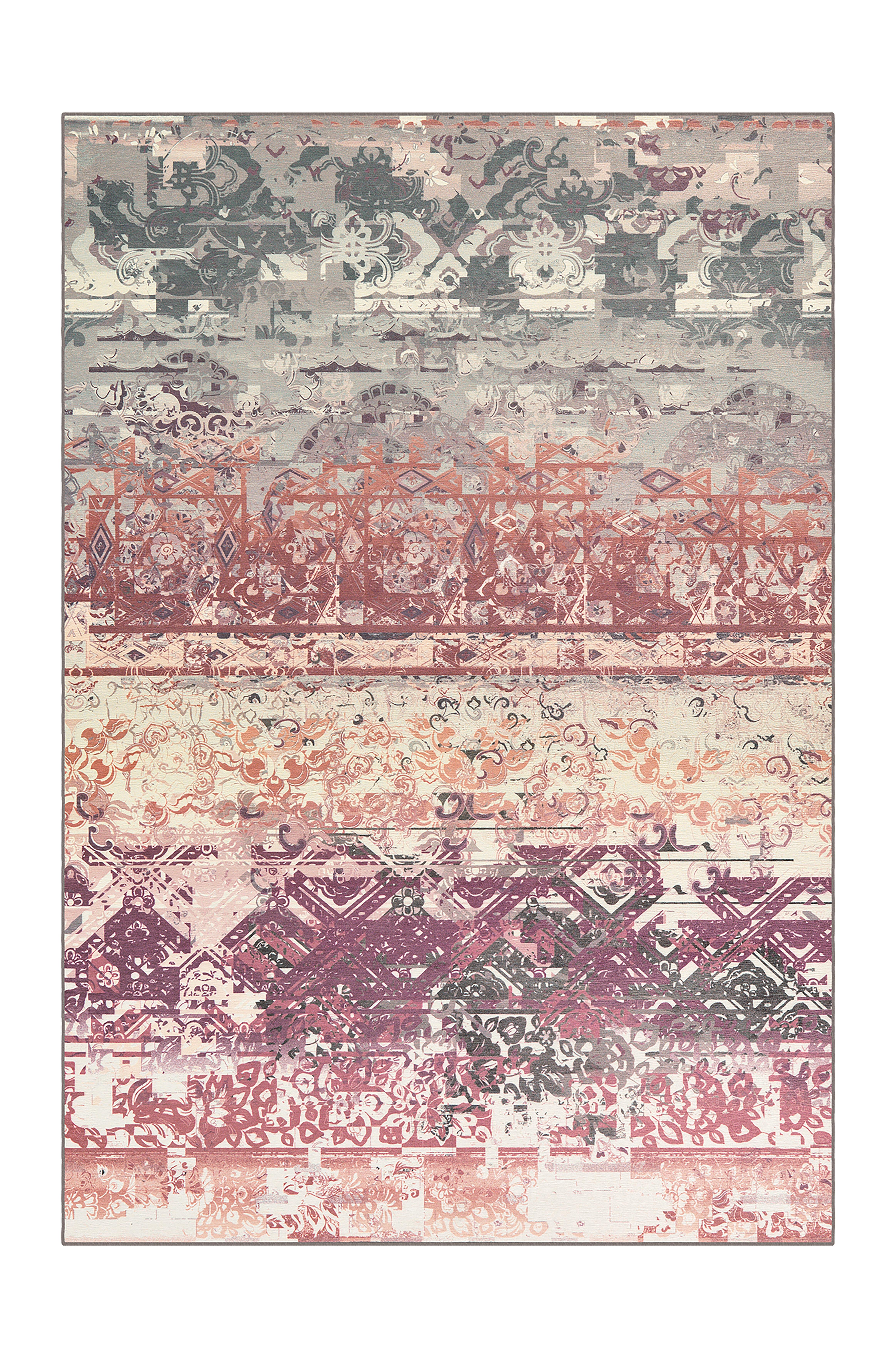 World Menagerie Flachgewebe Teppich Lonnie In Grau Rosa