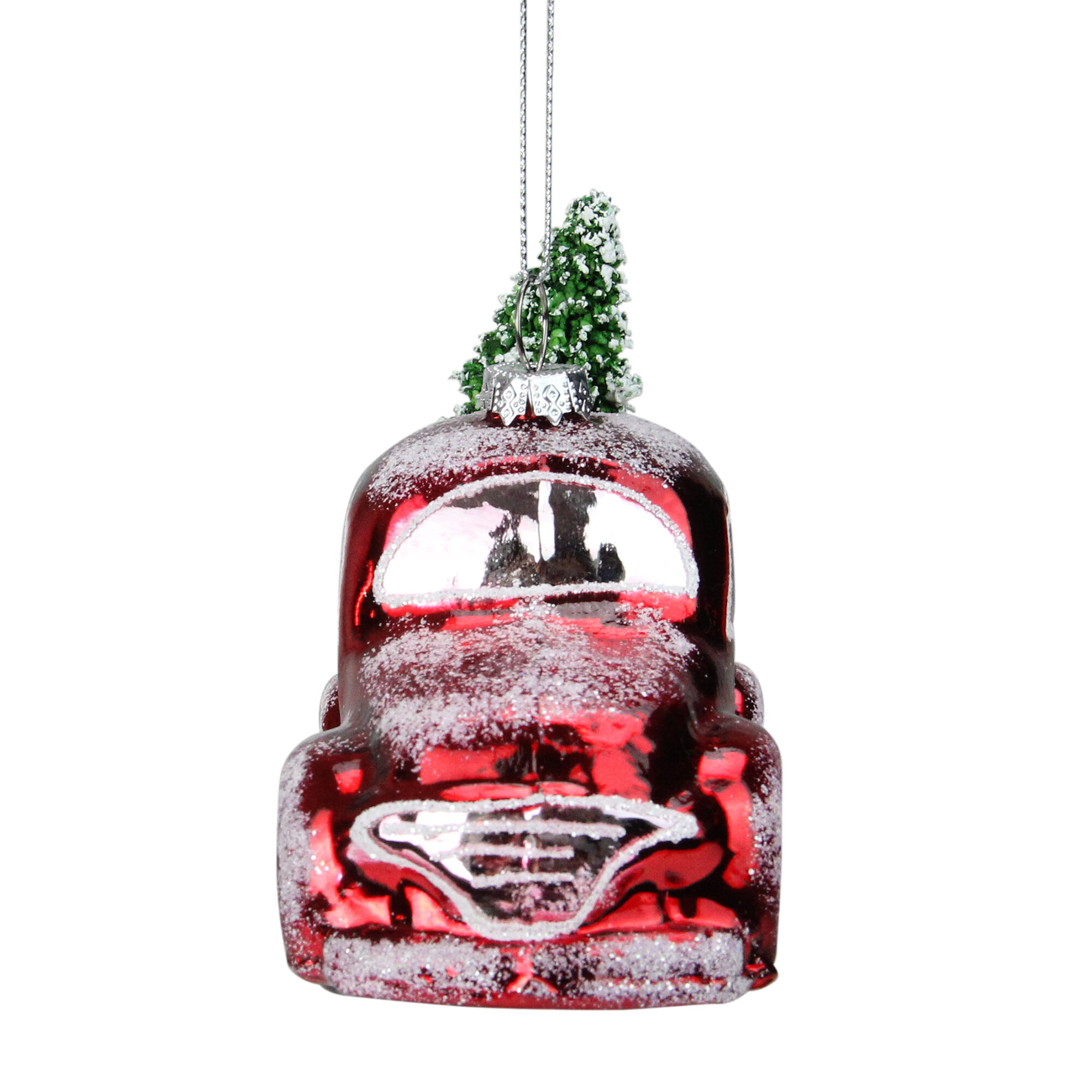 Northlight Frosted Pickup Truck With Flocked Christmas Tree Glass Holiday Shaped Ornament Reviews Wayfair