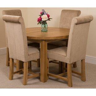 Soejima Solid Oak Dining Set With 4 Washington Chairs By Rosalind Wheeler