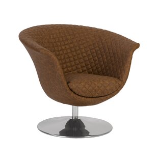 Autumn Quilted Cognac Trumpet Swivel Barrel Chair by Phillips Collection