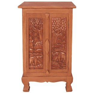 Handmade Acacia 32 Royal Elephant Storage Accent Cabinet by EXP D?cor
