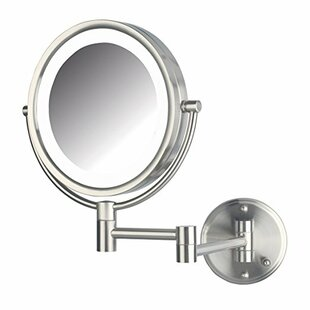 Symple Stuff LED Lighted Direct Wire Wall Mount Makeup/Shaving Mirror