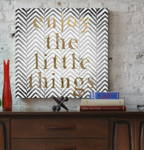 Oliver Gal 'Enjoy The Little Things Typography Art' Wrapped Canvas