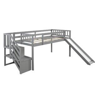 Adelbert Twin Low Loft Bed with Shelf