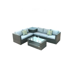 Michalak 4 Piece Rattan Sectional Seating Group With Cushions by Latitude Run Best Design
