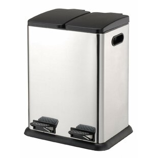 Rebrilliant Stainless Steel 10.57 Gallon Step On Multi Compartments Recycling Bin