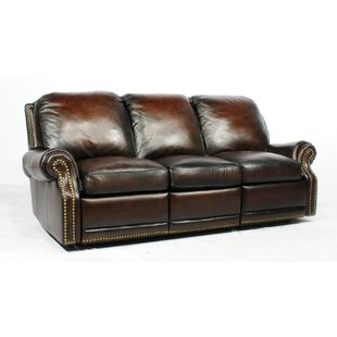 Timmie Leather Reclining Sofa Canora Grey
