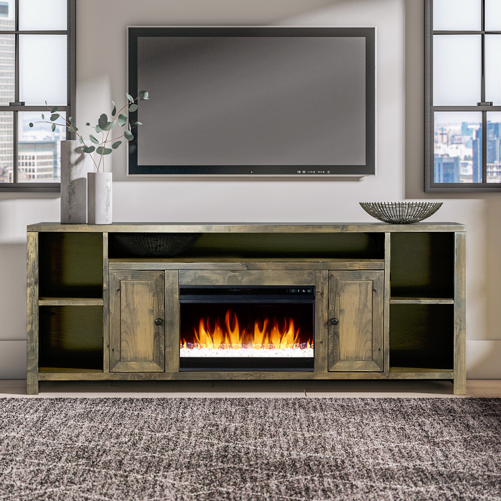 Greyleigh Columbia Tv Stand For Tvs Up To 88 With Electric Fireplace Included Reviews Wayfair