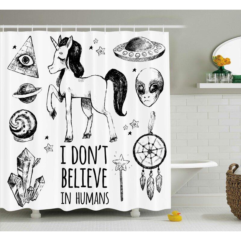 East Urban Home Unicorn Occult With Pyramids Single Shower Curtain Wayfair