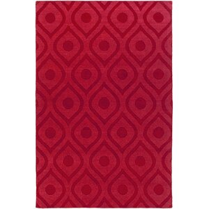 Castro Hand Woven Wool Red Area Rug