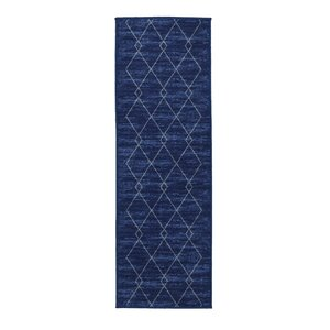 Vathylakas Diamond Trellis Blue Area Rug