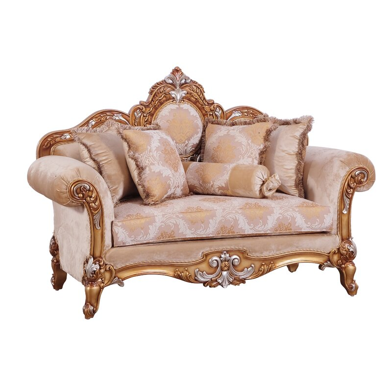 Benjara Baroque Style Wooden Loveseat With Rolled Armrest Beige And Gold Wayfair