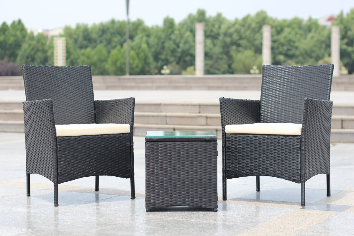 Rattan Table Set Part - 18: Walker Handmade 3-Piece Compact Outdoor/Indoor Garden Patio Furniture Set  Black PE Rattan