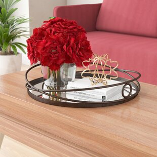 Stampley Metal Mirrored Round Accent Tray
