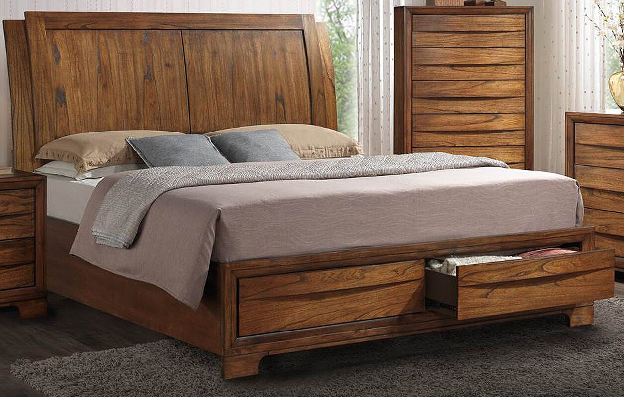 russet queen storage sleigh bed