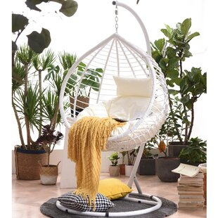 Laramie Breeze Rattan Effect Swing Chair With Stand By World Menagerie
