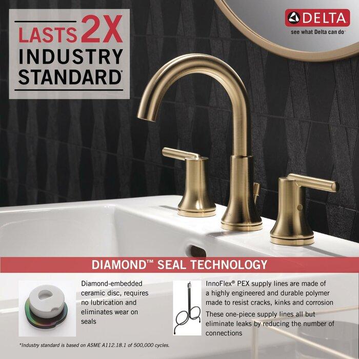 Delta Trinsic Bathroom Widespread Bathroom Faucet With Drain
