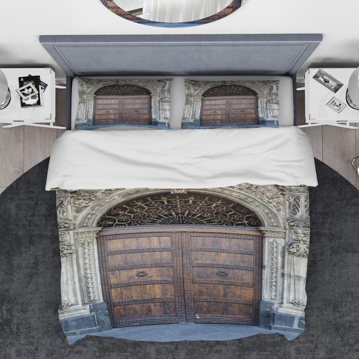 East Urban Home Designart Old Door In Catania Italy Duvet Cover Set Wayfair