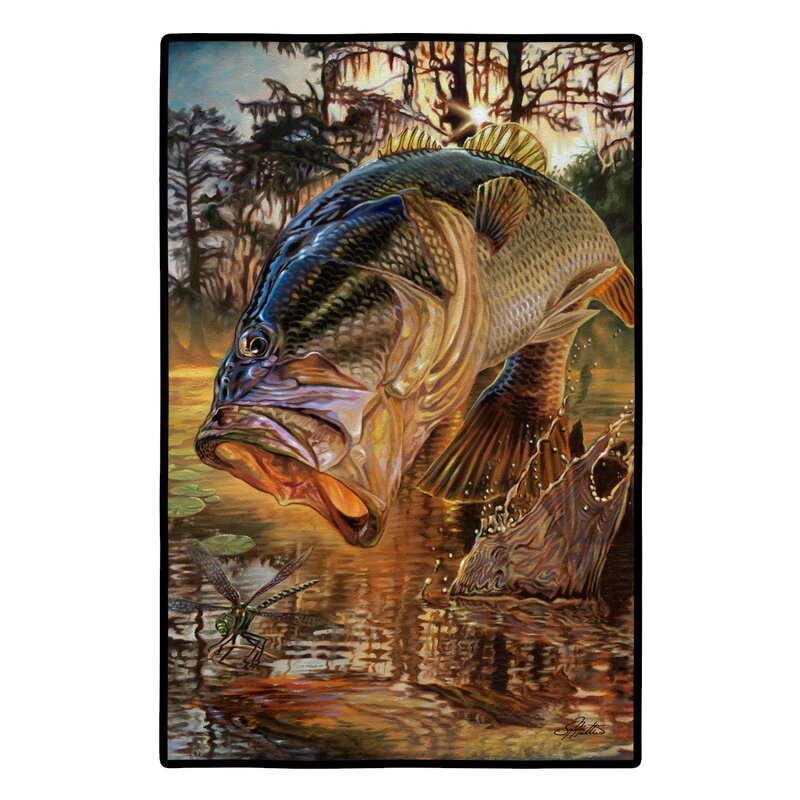 Millwood Pines Cornejo Dragon Slayer Largemouth Bass 36 In X 24 In Non Slip Outdoor Door Mat Wayfair