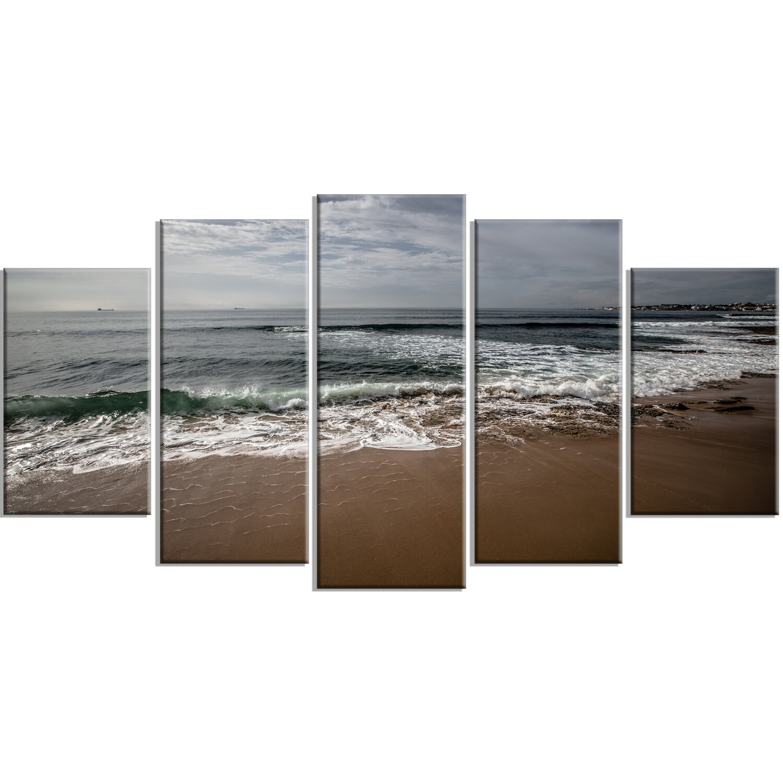 Designart Soft Waves Of Sea On Sandy Beach 5 Piece Photographic Print On Wrapped Canvas Set Wayfair