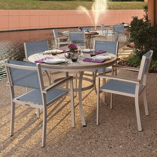 Rosenfeld 5 Piece Dining Set with Titanium Sling Back Chairs