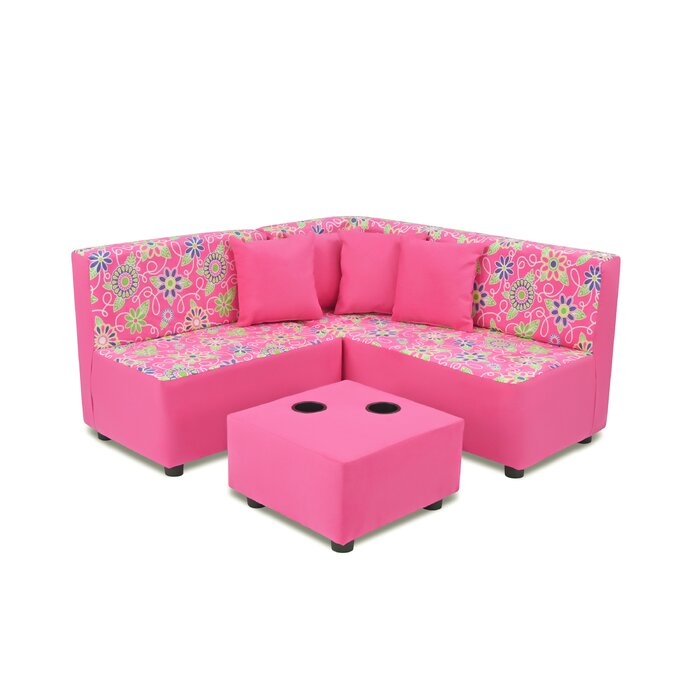 Neilsen Kids Microfiber Sofa Ottoman With Cup Holder