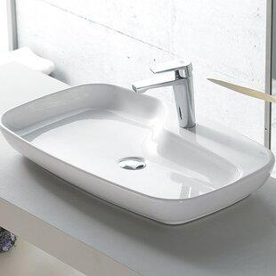 Savings Nova Ceramic Rectangular Vessel Bathroom Sink with Overflow ByCeraStyle by Nameeks