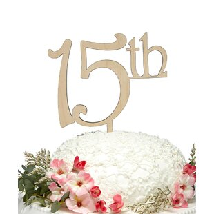 15Th Wooden Cake Topper
