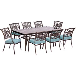 Three Posts Lauritsen 9 Piece Modern Dining Set with Cushions