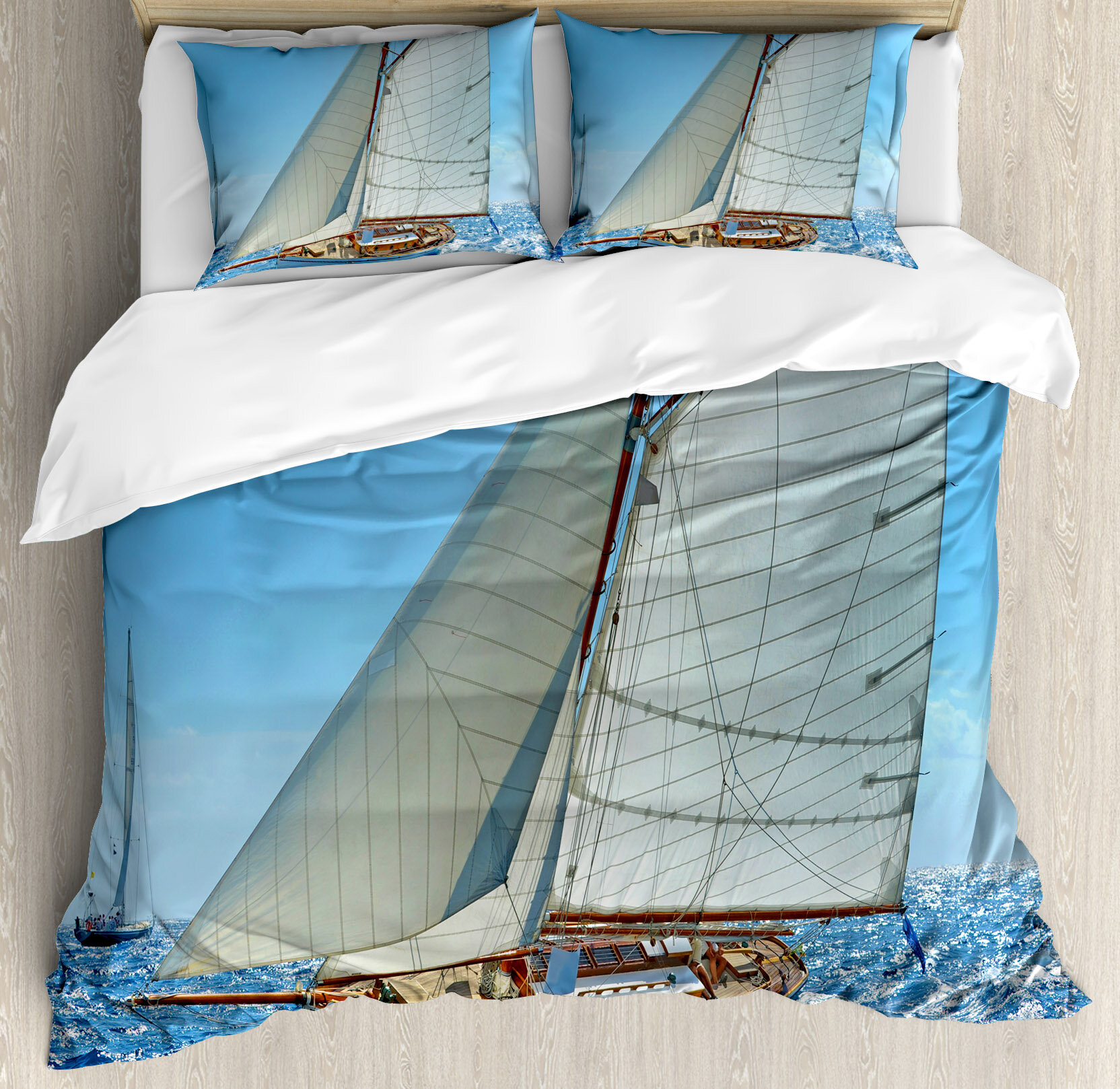 Ambesonne Nautical Deluxe Sailboat On Sea Regatta Race Yacht Windy Weather Competition Luxury Duvet Cover Set Wayfair