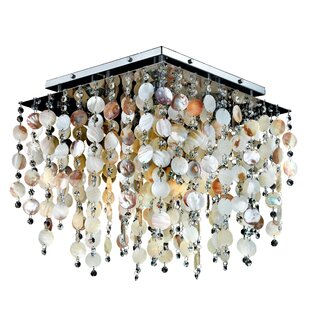 Glow Lighting Cityscape Oyster Shell and Crystal Square 5-Light Flush Mount